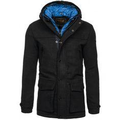 Pánske kabáty s kapucňou čiernej farby - fashionday.eu Raincoat, Nike, Jackets, Fashion, Rain Jacket, Down Jackets, Moda, Fashion Styles