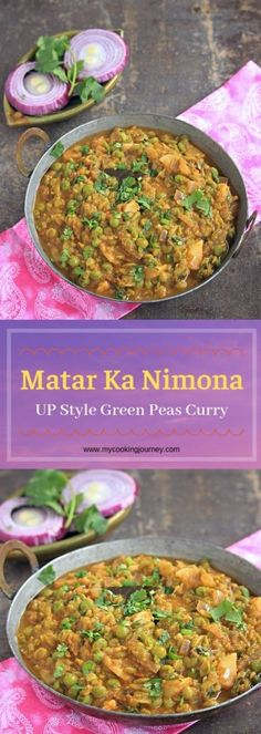 Green Peas Nimona Matar Ka Nimona is a flavorful Uttar Pradesh style Green Peas Curry that is simple and quick to make. Casserole Recipes, Pasta Recipes, Crockpot Recipes, Soup Recipes, Vegetarian Recipes, Chicken Recipes, Dinner Recipes, Cooking Recipes, Healthy Recipes