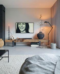 Living Room Interior, Living Room Decor, Bedroom Decor, Black And White Living Room, Living Room Tv Unit Designs, Tv Wall Decor, Apartment Projects, Room Setup, Home Decor Furniture