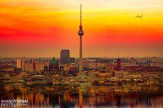 Berlin TV Tower (Fernsehturm) - Sunset over Berlin TV tower (Fernsehturm)