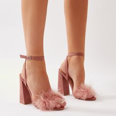 09c36735220 Mimi Feather Block Heels in Blush Pink Faux Suede