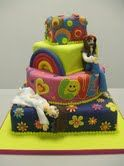 60s Themed Birthday Cake!  I'm going to do this without the hippies.