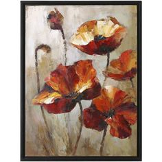 "Uttermost 39"" High Window View Poppies Floral Wall Art ($273) ❤ liked on Polyvore"