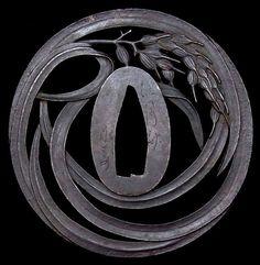 "Edo Period: Signed Sukashi TSUBA of Katana ""Ear of rice"""