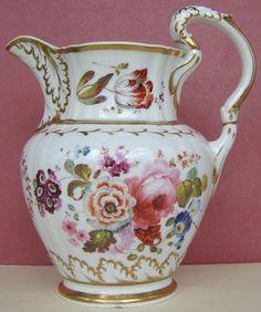 English Porcelain Floral Jug Named & Dated J Chell 1828