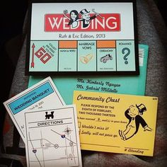 Who, What, When: Wedding Stationery Timeline & Guide Unusual Wedding Invitations, Wedding Stationary, Wedding Invitation Templates, Invitation Design, Invitation Cards, Faire Part Puzzle, Monopoly Theme, Monopoly Party, Board Game Wedding