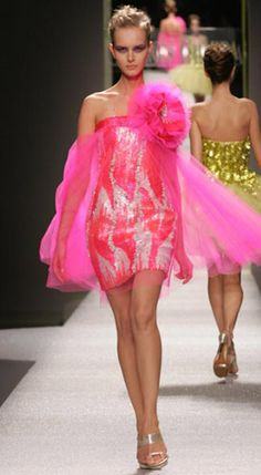 georges chakra couture spring Hot pink and white sequined mini dress. Silk banded top with large tulle flower and train. Bad Fashion, Pink Fashion, Colorful Fashion, Fashion Show, Georges Chakra, Sexy Dresses, Nice Dresses, Short Dresses, Amazing Dresses
