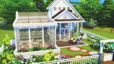 ☁️☁️🍃🌷🌳GARDENER'S DREAM HOME 🍃🌷🌳☁️☁️ Greetings to all the green thumbs out there! I have built a cute little dream home for the gardener in all of us! This adorable one bedroom house with attached. Sims 4 House Plans, Sims 4 House Building, The Sims Houses, Plans Minecraft, Minecraft Garden, Lotes The Sims 4, Little Dream Home, Muebles Sims 4 Cc, Sims 4 House Design