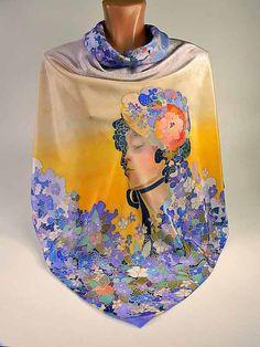 Batik shawl Flirty girl handpainted on silk by lavanita on Etsy, $229.00