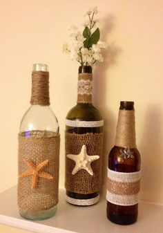 Upcycled Wine Bottle Centerpieces with burlap and starfish by BottlesByBirdie, $30.00 for set of 3