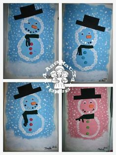 bonhommes de neige ( 2012) Christmas Activities For Kids, Holiday Crafts For Kids, Winter Activities, Christmas Crafts For Kids, Christmas Art, Winter Kids, Winter Art, Christian Christmas Crafts, Polo Norte