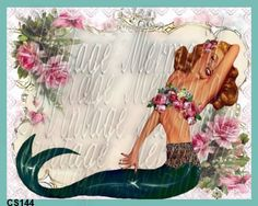Pinup Girl Mermaid Quilts Applique Mermaid by mermaidfabricshop, $6.99