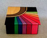 Painted Box for Keepsake & Jewelery, Abstract Rainbow Design, Metallic Colors, Signed Numbered Artwork - Painting Painted Wooden Boxes, Wood Boxes, Wooden Box Crafts, Hand Painted, Metallic Colors, Paint Designs, Box Art, Wooden Signs, Painted Furniture
