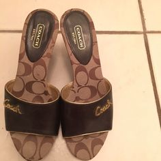 Size 7 Coach sandals. Sold out in stores! Size 7 Coach   sandals with Coach logo  in front and on heel as well. This certainly makes these sandals classy and super stylish!  Coach Shoes Sandals