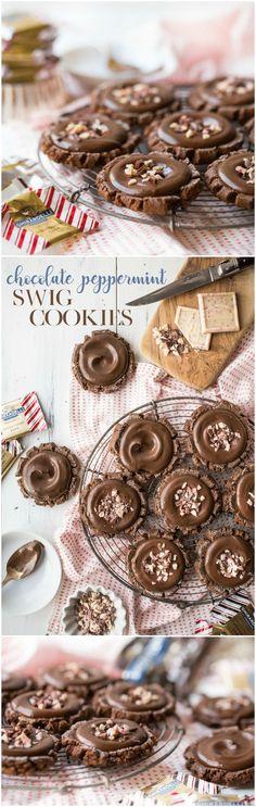 Swig Cookies, Holiday Cookies, Sugar Cookies, Cookies Et Biscuits, Holiday Treats, Chocolate Flavors, Chocolate Cookies, Chocolate Recipes, Ghirardelli Chocolate