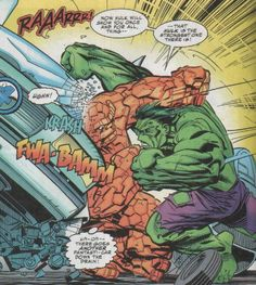 Hulk vs The Thing Spiderman Comic Books, Marvel Comics Superheroes, Hulk Marvel, Marvel Art, Marvel Heroes, Hulk Comic, Comic Villains, Comic Book Characters, Marvel Characters