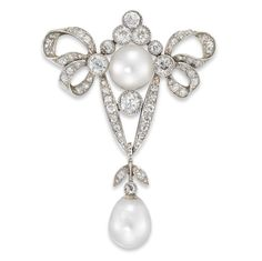 A LATE VICORIAN PEARL AND DIAMOND BOW BROOCH - Bentley & Skinner