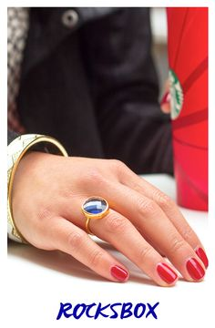 This navy ring is made exclusively by @margelizjewelry for Rocksbox!