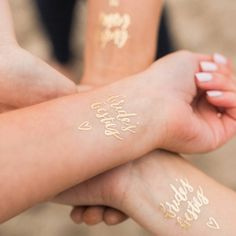 The perfect hen party accessorie!These unique gold temporary tattoos will add the perfect finishing touch to your hen party outfit!*** We are now offering a discounted rate for a pack of 12 tattoos - 1 Bride to Be and 11 Bride's Besties. Please choose 'multipack' from the drop down menu. ***The tattoos come in the following:-Bride's BestiesBride to BeBridesmaidMaid of HonourThe tattoos are waterproof and should last for 1-3 days. They can be worn on the wrist or anywhere else on the body!