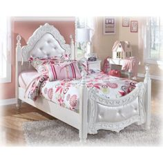 Exquisite Twin Poster Padded Bed | B188-71/83 | Beds | Leslie's Furniture