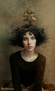 """Bird Dreaming"" surreal digital photo manipulation portrait by Patricia Brennan"