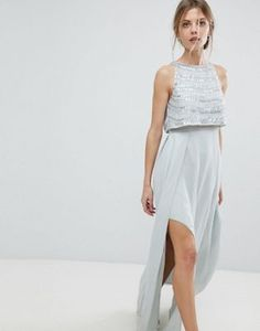 ASOS Silver Embellished Crop Top Maxi Dress