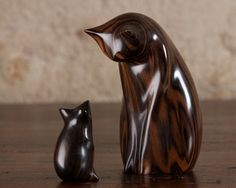 Cat and Mouse Sculpture Hand Carved From Macassar Ebony by Perry Lancaster, Last Carving of 2015, Signed and Dated