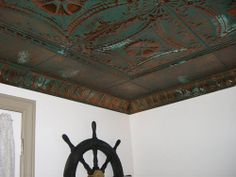 tin ceiling tiles with crown molding......ouch, that is the definition of delicious!!