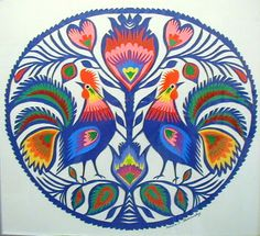 Polish paper cutting 'Blue Roosters in a circle'.  I love the colours and intricacy of this design of Wycinanki.