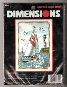 "Cross Stitch Kit Sailing Sailboat Lighthouse 5"" x 7"" Dimensions 6744 Sealed"