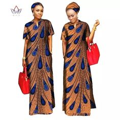 Kitenge Cotton African Women Long Dress with African Clothing For Women Cotton Material Lady Long Dress With Scarf Long African Dresses, African Print Dresses, African Fashion Dresses, African Attire, African Wear, African Women, Fashion Outfits, Fashion Ideas, African Outfits