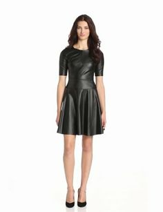 Amazon.com: BCBGMAXAZRIA Women's Darra Faux Leather A-Line Dress, Black, 4: Clothing