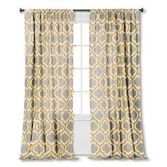 Classic, sophisticated and uber chic, the Threshold Linen-Look Fretwork Curtain Panel will bring style and class to any space. It features a modern pattern to liven up your home's decor. For easy care, machine wash and tumble dry.