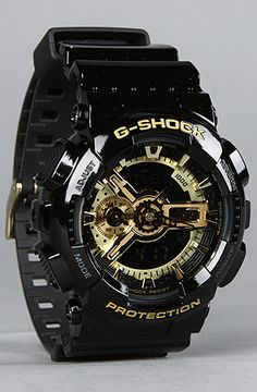 G-Shock in Black and Gold. Stylish Watches, Cool Watches, Watches For Men, Men's Watches, Burberry Men, Gucci Men, Hermes Men, Versace Men, G Shock Watches