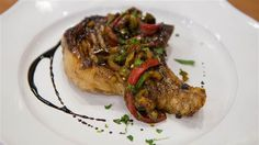 Bobby Flay's Grilled Balsamic Pork Chops with Peppers - TODAY.com