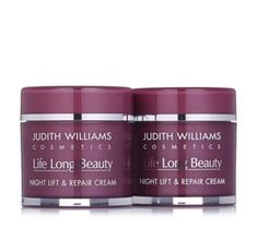 234890 - Judith Williams Life Long Beauty Lift & Repair Night Cream 80ml Duo - QVC PRICE: £35.00 Event Price: £31.44 + P&P: £4.95 A duo of Judith Williams' Life Long Beauty Lift & Repair Night Creams, designed to intensely hydrate your skin as you sleep. Wake up to refreshed, brighter and lifted-looking skin with this rich, luxurious cream.