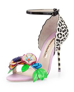 Lilico Floral Jungle Sandal, Black/White/Multi by Sophia Webster at Neiman Marcus.