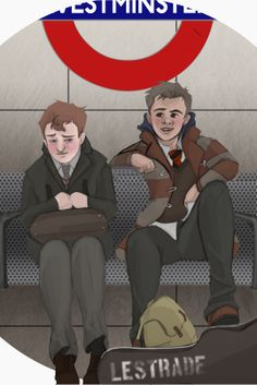 Preteen Mystrade by qed221b. // I subscribe to the headcanon that the Holmes family is upper class like woah and has probably never taken the underground a day in their collective lives. But qed's art is excellent regardless.