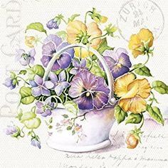 Amazon.com: Paper Luncheon Napkins Flower Letter Yellow and Purple Pansies 2x20pcs: Kitchen & Dining