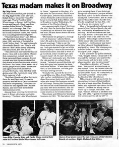 """The Chicken Ranch hits Broadway as """"The Best Little Whorehouse in Texas""""."""
