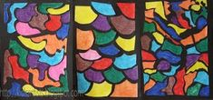 Made by students of grade 5 You need: white drawing sheet size markers black construction paper glue Students draw organic shapes . Artists For Kids, Art Blog, Pop Art Artists, Drawings, Art Matters, Drawing Sheet, Puzzle Drawing