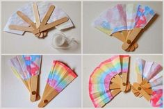 drill holes through popsicle sticks for folding fan- try with craft drill Popsicle Stick Crafts, Popsicle Sticks, Craft Stick Crafts, Paper Crafts, Diy Arts And Crafts, Crafts To Do, Diy Crafts For Kids, Art For Kids, Summer Camp Crafts