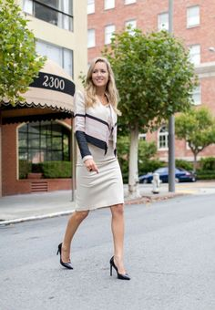 cropped cardigan with pencil skirt