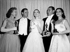 """Academy Awards: 28th Annual,"" Jo Van Fleet, Jack Lemmon, Grace Kelly, Ernest Borgnine, and Marisa Pavan."