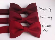 Mens, boys classic red, cranberry, burgundy bow tie // Wedding, groomsmen accessories, custom sizes, fall colors