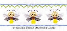 Smocking plate with three lightning bugs. 7 1/2 rows of smocking on a yoke. Also available as a pleated insert...