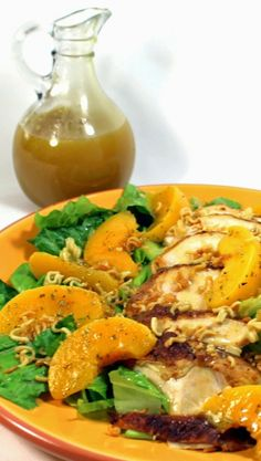 Salad with Chicken, Peaches, Crunchy Ramen Noodles and a fresh made Peach Vinaigrette  SIMPLE EASY AND FAST... And BEAUTIFUL AND DELICIOUS!  An easy upgrade for a Rotisserie Chicken and An easy upgrade for a package of Ramen Noodles.  And the fresh made Peach Vinaigrette is THE BEST! Crunchy, Sweet, Fruit and Chicken... A Fantastic lunch!
