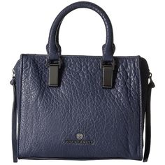 Vince Camuto Riley Small Satchel (Peacoat) Satchel Handbags ($248) ❤ liked on Polyvore featuring bags, handbags, zip purse, handle satchel, strap purse, satchel purses and vince camuto satchel