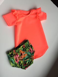 A personal favorite from my Etsy shop https://www.etsy.com/listing/527282651/neon-coral-tunic-dress-girls-bloomers