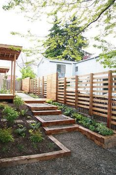 Staggered horizontal fence for back yard driveway privacy, or way around fencing regulations for side/front yard? Description from pinterest.com. I searched for this on bing.com/images
